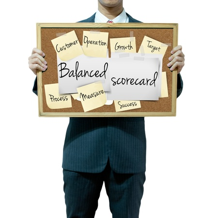 outcomes: Business man holding board on the background, Balanced Scorecard Stock Photo