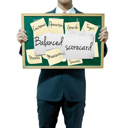 balanced: Business man holding board on the background, Balanced Scorecard Stock Photo