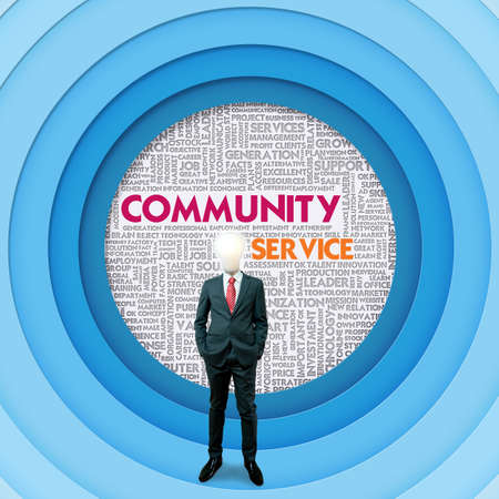 inhabitants: Business word cloud for business and finance concept, Community Service  Stock Photo