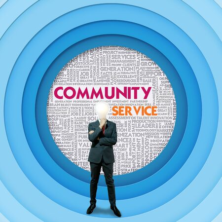 citizenry: Business word cloud for business and finance concept, Community Service  Stock Photo