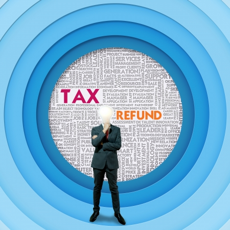 return on investment: Business word cloud for business and finance concept, Tax Refund Stock Photo