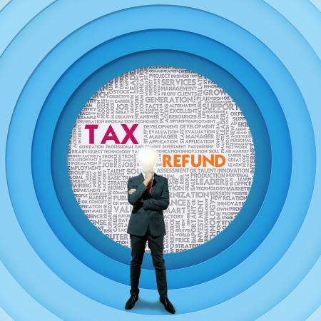 retour: Zakelijke woordwolk voor zaken en financiën concept, Tax Refund