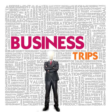 business traveller: Business word cloud for business and finance concept, Business Trips Stock Photo