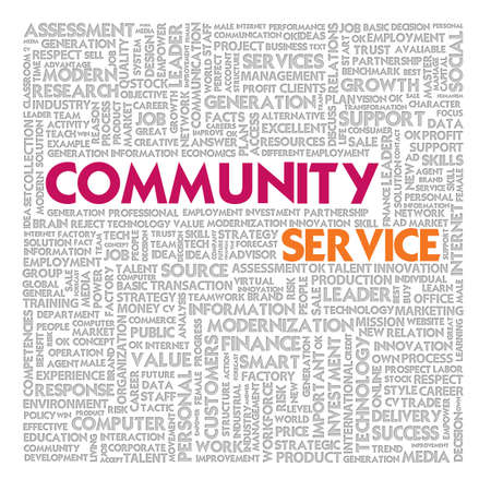 community service: Business word cloud for business and finance concept, Community Service  Stock Photo