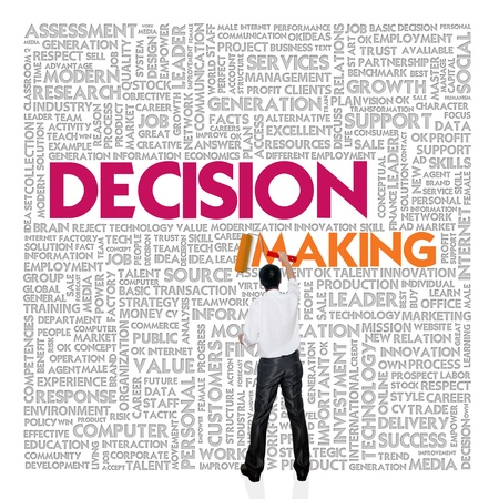 Business word cloud for business and finance concept, Decision Making photo