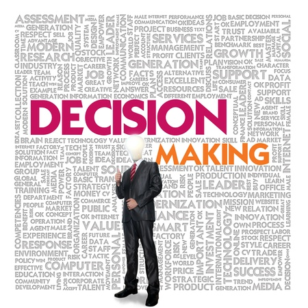 decisions: Business word cloud for business and finance concept, Decision Making