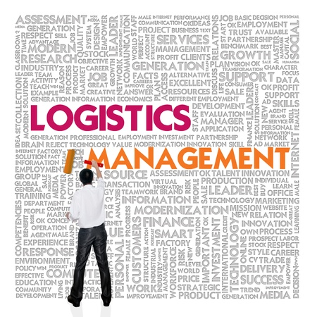 work flow: Business word cloud for business and finance concept, Logistics management