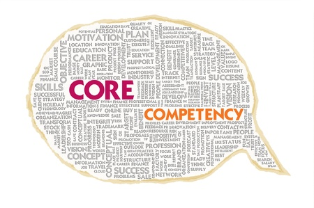 Wordcloud on texture paper speech bubble, Core Competency photo