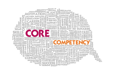 competency: Wordcloud on texture paper speech bubble, Core Competency