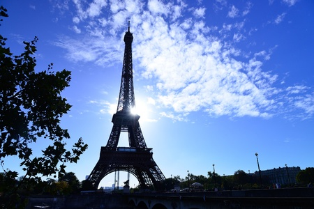 Paris and Eiffel tower in sunrise time photo