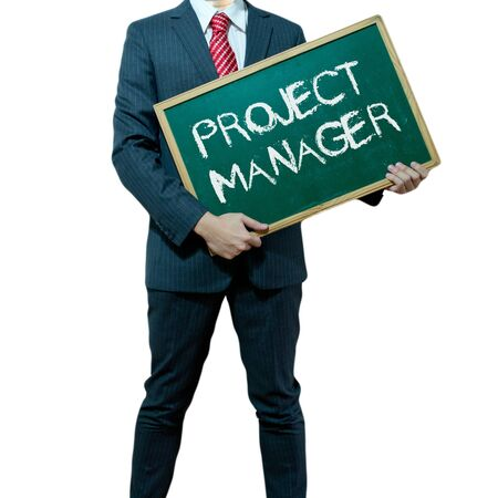 Business man holding board on the background, Project Manager Stock Photo - 16857373