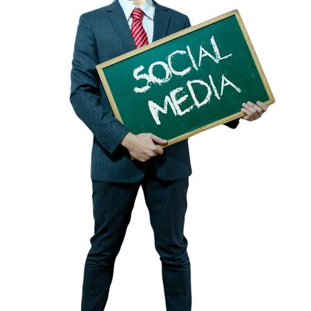Business man holding board on the background, Social Media Stock Photo - 16857367