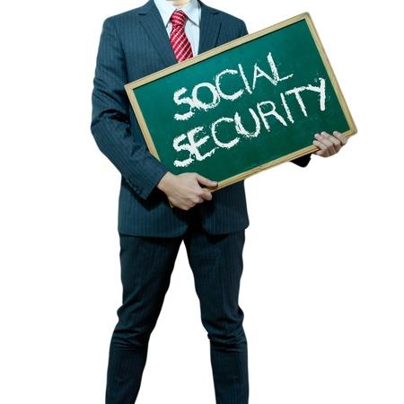 s�curit� sociale: Business man holding conseil d'administration sur le fond, de la s�curit� sociale Banque d'images