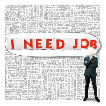 unhappy worker: Business word cloud for business and finance concept, Job