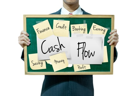 Business man holding board on the background, Cash flow Stock Photo - 17049254
