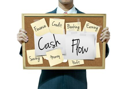 Business man holding board on the background, Cash flow Stock Photo - 17049265