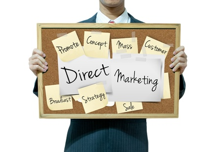 Business man holding board on the background, Direct marketing Stock Photo - 17049266