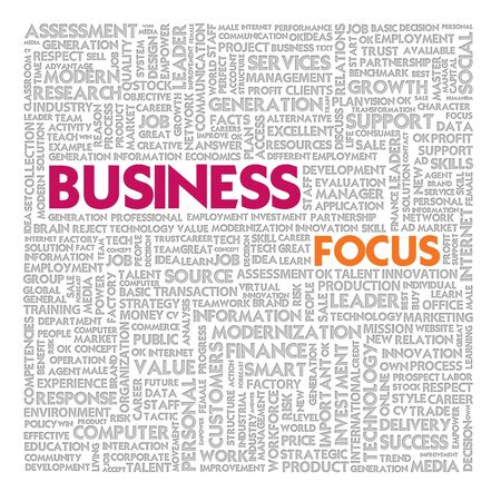 Business word cloud for business and finance concept, Business Focus photo