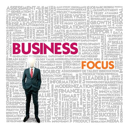 business focus: Business word cloud for business and finance concept, Business Focus Stock Photo