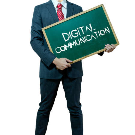Business man holding board on the background, Digital Communication Stock Photo - 17050348