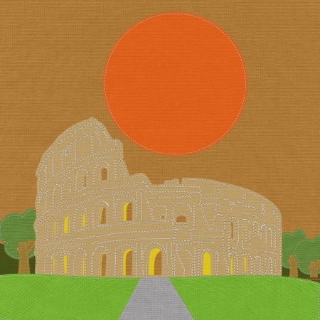 Colosseum in rome with stitch style on fabric background photo