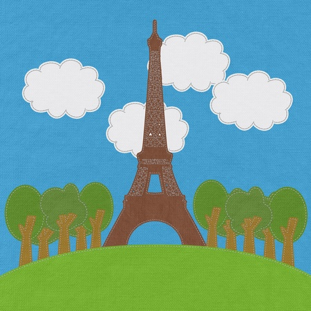Eiffel tower, Paris. France in stitch style on fabric background Stock Photo - 17493614