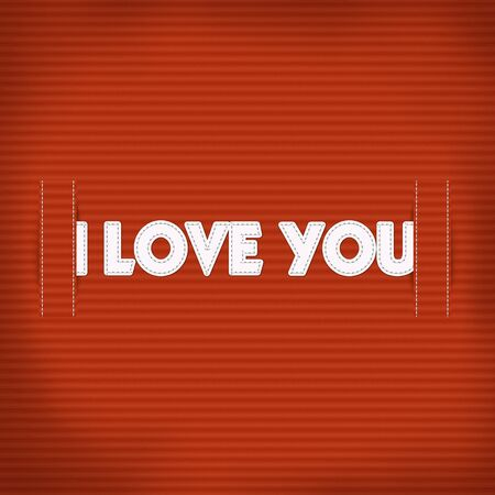 LOVE word sewing with white thread on the fabric texture background Stock Photo - 17492160
