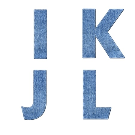 Alphabet with stitch design elements on denim texture photo