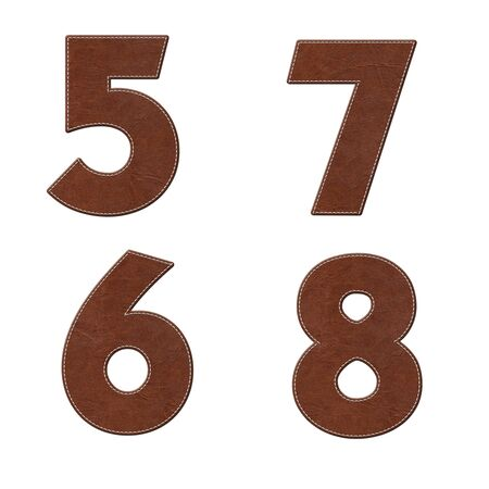 leather stitch: Number with stitch design on leather elements  Stock Photo