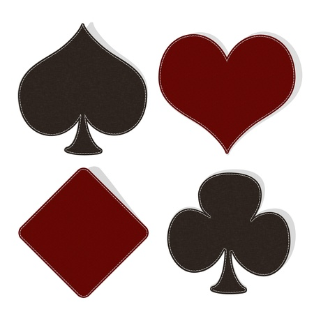 card symbol set with stitch style on fabric background Stock Photo - 17493430