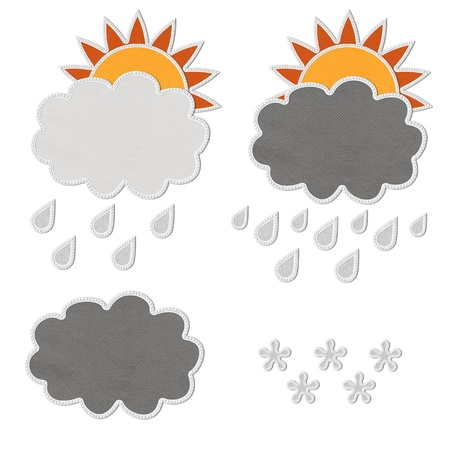 Stitch style for weather icons on the fabric background Stock Photo - 17493530