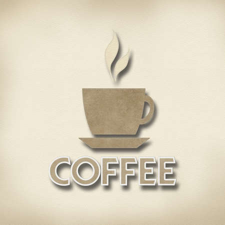 leather stitch: Coffee with stitch style on leather background Stock Photo