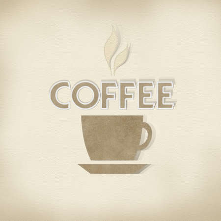 Coffee with stitch style on leather background photo