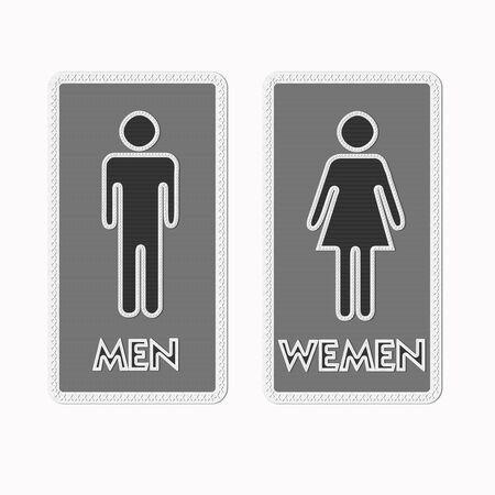 Stitched Man & Woman restroom sign on fabric background photo