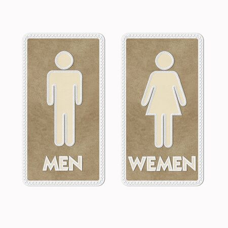 leather label: Stitched Man & Woman restroom sign on leather background
