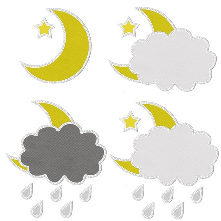 Stitch style for weather icons on the fabric background photo
