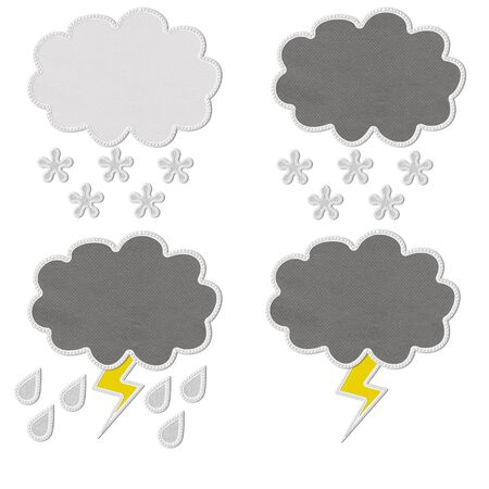Stitch style for weather icons on the fabric background Stock Photo - 17493509