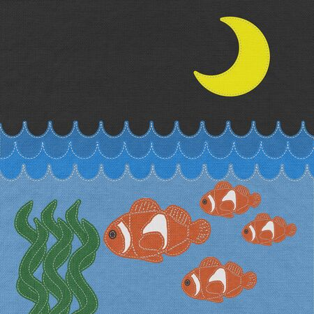 Fish under water with stitch style on fabric background Stock Photo - 17493687