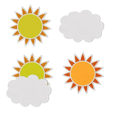 Stitch style for weather icons on the fabric background Stock Photo - 17493467