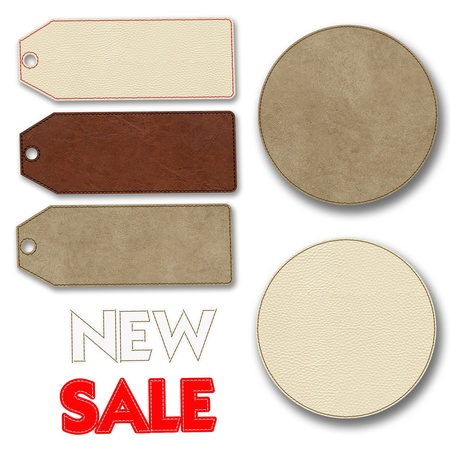Leather label for sale promotion Stock Photo - 17493525