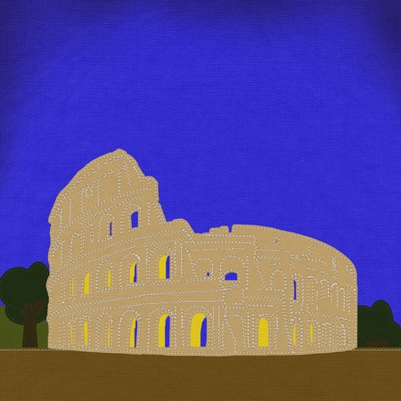 monument historical monument: Colosseum in rome with stitch style on fabric background