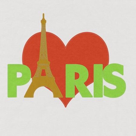 eifel: Eiffel tower, Paris. France in stitch style on fabric background Stock Photo