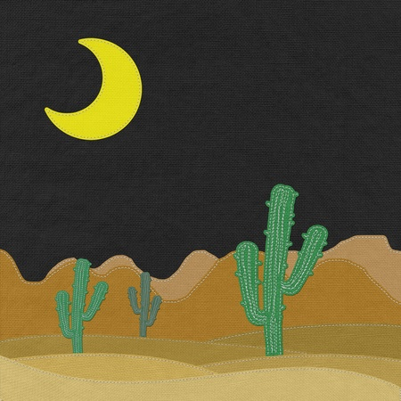 far: Cactus in the desert with stitch style on fabric background