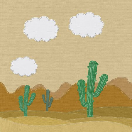 Cactus in the desert with stitch style on fabric background Stock Photo - 17537269