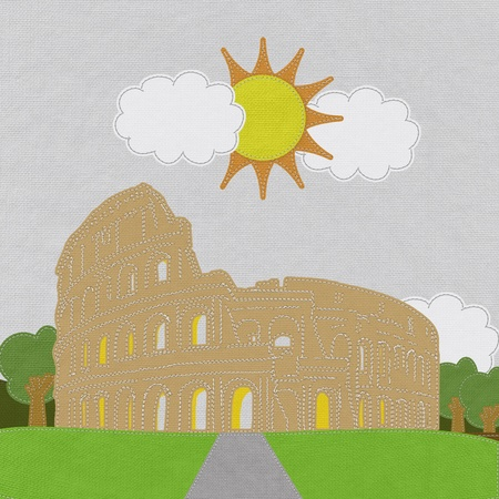 seam: Colosseum in rome with stitch style on fabric background