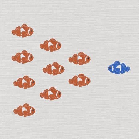 unique concept: Fish leader on white background with stitch style, unique and diffrent business concept