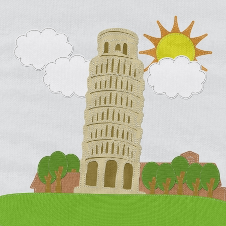 Pisa tower in stitch style on fabric background photo