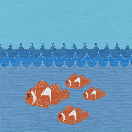 Fish under water with stitch style on fabric background Stock Photo - 17537450