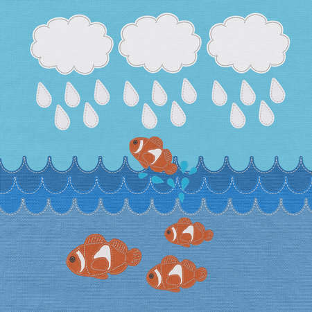 Fish under water with stitch style on fabric background photo