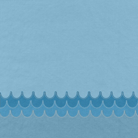 Sea with stitch style on fabric background